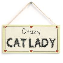 """Meijiafei Crazy Cat Lady - Cat Lover Gift Love Heart Frame Sign 10""""x5"""""""
