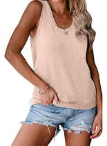 EVALESS Women Knit Button Back Cami Tank Tops with Pocket Casual Summer Sleeveless Shirts Pullover Blouses
