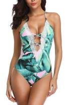 Eomenie Women Swimsuit One Piece Deep V Vintage lace Tummy Control Bathing Suit Swimwear Monokini