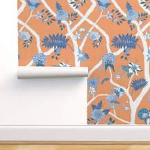 Spoonflower Peel and Stick Removable Wallpaper, Blue and White Orange Peony Floral Chinoiserie Large Scale Print, Self-Adhesive Wallpaper 12in x 24in Test Swatch