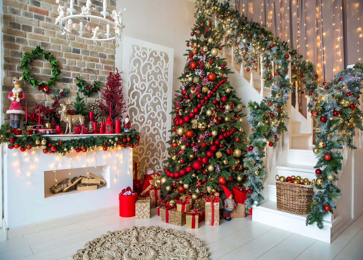 AIIKES 7x5FT Christmas Backdrops for Photography Fireplace Christmas Photography Background Indoors Xmas Tree Gift Holiday Party Decoration Christmas Photo Backdrops Studio Booth Props 11-752