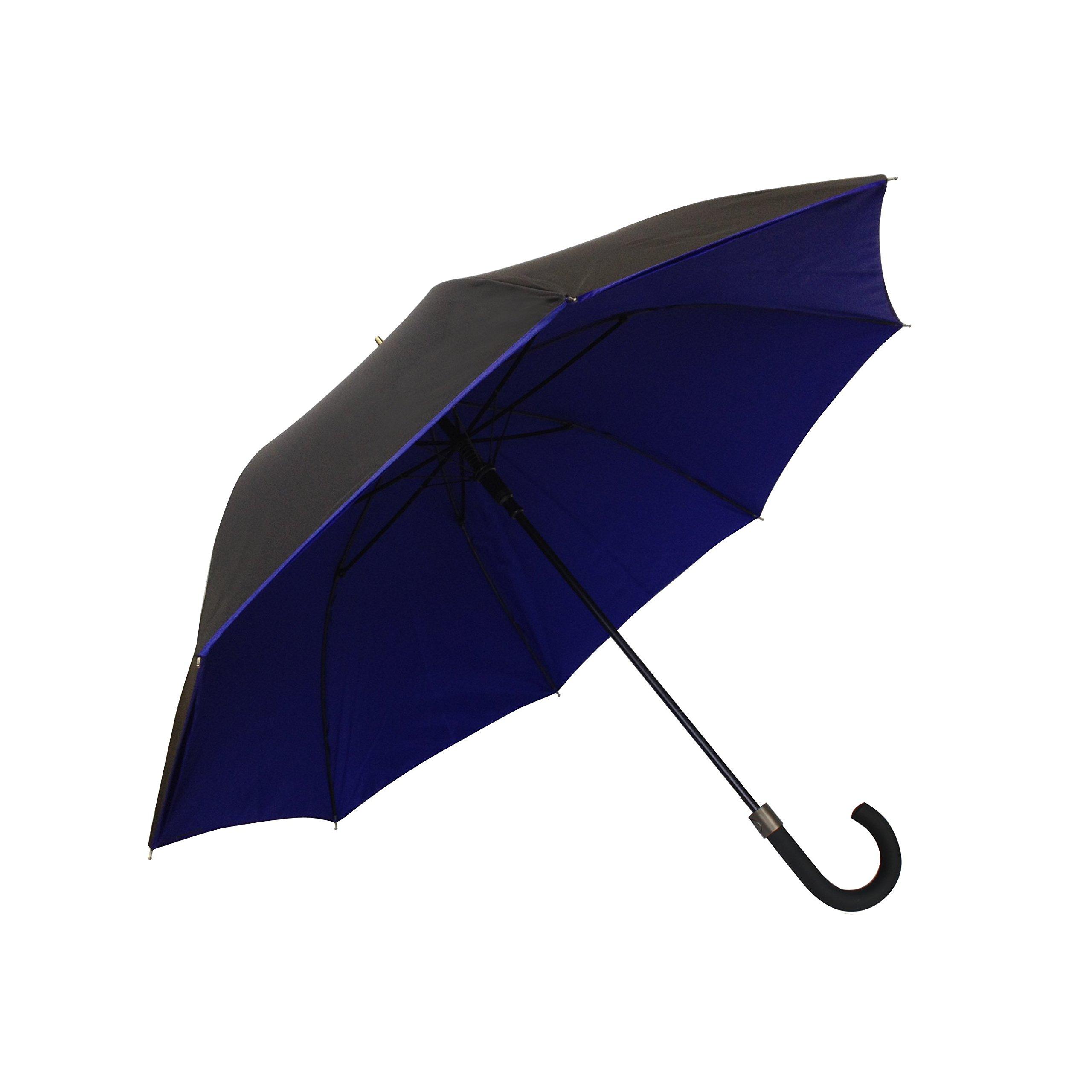 SMATI Stick Umbrella - Double Layers - French Design - Fashion - Sturdy - 8 fibreglass ribs Windproof - color (Electric Blue-black)