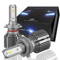 Nuvision Pair H7 Bulbs 20000 Lumens 60W LED Headlight High/Low Beam Fog Lamp Light Conversion HID Kit with Fan