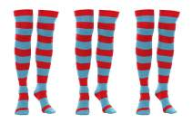 elope Dr. Seuss Thing 1 & 2 Striped Knee High Socks for Men and Women 3 Pairs Red