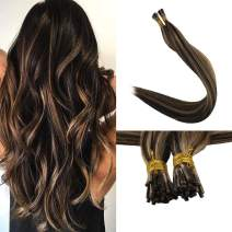 """Full Shine I Tip Fusion Hair Extensions 18"""" Highlights Color #3P#27 Remy Stick Tip human hair Pre Bonded Beads Extensions 1g Per Strand 50g Per Package"""
