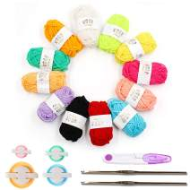 4 Sizes Pompom Makers, 12 Colors Acrylic Yarn Set with 2 Pieces Crochet and Scissors, Fluff Ball Weaver Needle Craft DIY Wool Knitting Craft Tool Set Decoration