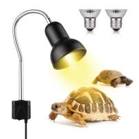 Reptile Heat Lamp Sun Lamp with Adjustable Holder Clamp Lamp with Switch UVA UVB Turtle Basking Spot Light with 360°Rotatable Arm Power Adapter for Lizard Turtle Snake Amphibian (XL)