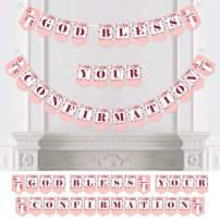 Big Dot of Happiness Confirmation Pink Elegant Cross - Girl Religious Party Bunting Banner - Party Decorations - God Bless Your Confirmation