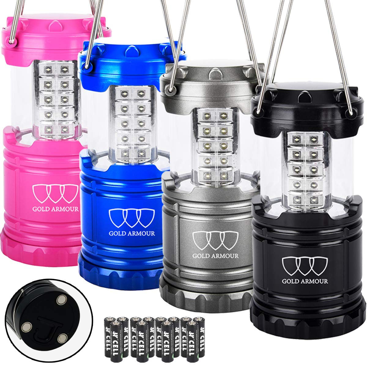 Gold Armour 4 Pack LED Lantern Camping Lanterns for Hiking, Emergency, Hurricanes, Outages, Storms - Camping Gear Accessories Equipment with 12 aa Batteries