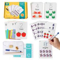 Vanmor Number Addition and Subtraction Flash Cards - Math Animal Flashcards for PreK & Kindergarten Preschool with Dry Erase Markers and Exercise Book for Kids Toddlers Learn to Count, Add & Subtract