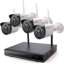 【Expandable 8CH, Audio】 ONWOTE 1080P Wireless WiFi Security Camera System Outdoor, 8 Channel NVR, (4) 1080P 2.0MP IP Security Surveillance Cameras for Home, One-Way Audio, 80ft IR, No Hard Drive