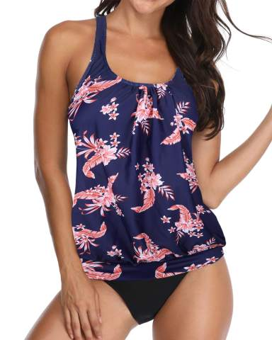 Yonique Women Plus Size One Piece Swimsuits with Skirt V Neck Floral Printed Swimderss Cutout Bathing Suits