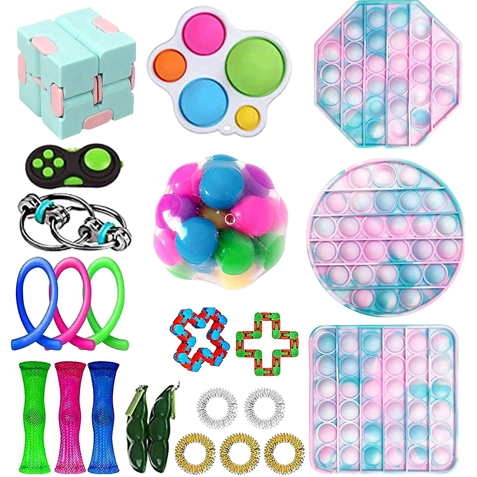 OLOPE 30Pcs Sensory Fidget Toy Set, Fidget Pack Sensory Relieves Stress Anxiety Fidget Toy for Kids Adults,Special Toys Assortment for Birthday Party Favors, Classroom Rewards Prizes (Q1)
