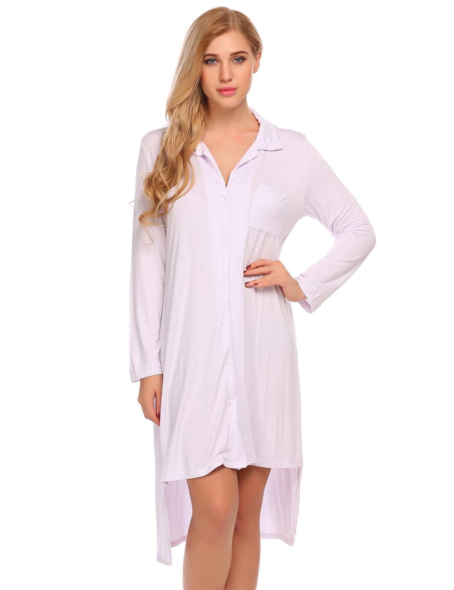 Ekouaer Womens Sleep Dress Button Down Sleepwear Nightgown Nightshirt Black Medium