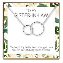Dear Ava Sister of The Groom Gift Necklace: Sister in Law Gift, Wedding, Bridal Shower, 2 Interlocking Circles