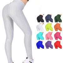 Women's High Waist Yoga Pants - Tummy Control Slimming Booty Leggings Workout Running Butt Lift Textured Tights
