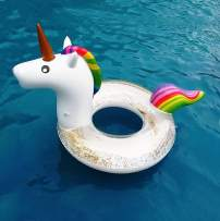 AILIMY Giant Inflatable Unicorn Pool Float with Glitter Inside , Fun Beach Floaties , Swim Party Toys , Summer Pool Raft Lounger for Adults & Kids
