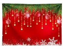 Allenjoy Soft Durable Fabric 7x5ft Winter Red Christmas Photography Backdrop Snowflake Xmas Ball New Year Party Background Family Decoration Backdrop Photo Booth Studio Props