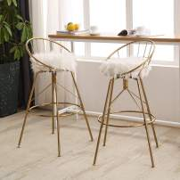 AKLAUS Swivel Bar Stools 26 Inch Counter Stools with Backs Counter Height Barstools White Fur Bar Chairs Set of 2 Gold