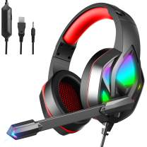 MuGo Gaming Headset for PC Xbox One, Over Ear Headphones with Color Changing LED Light, Gaming Headphones for PS4 PS5 Laptop Mac, Stereo Mic Surround Sound, 3.5mm Audio Jack, Foam Ear Pads, Black/Red