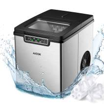 Countertop Ice Maker Aicok, Ice Cubes Ready in 6 Minutes, Makes 26lbs Ice in 24 hrs, Stainless Steel, Perfect for Water Bottles, Mixed Drinks, Portable Ice Maker with Ice Scoop and Basket, 2 Ice Sizes