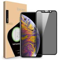 ICHECKEY iPhone Xs Max/iPhone 11 Pro Max Privacy Screen Protector, 4D Curved Anti Spy Anti-Scratch Case Friendly Full Coverage Tempered Glass Screen for iPhone Xs Max/11 Pro Max - 6.5 Inch