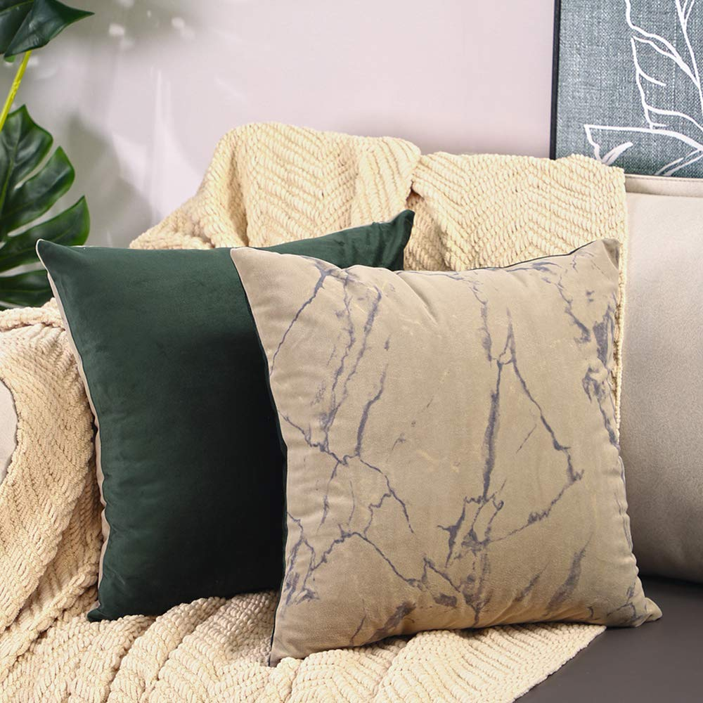 Btyrle Set of 2 Marble Print Throw Pillow Covers 18x18 Inch Decorative Velour Pillowcases Square Cushion Case for Sofa Car Bedroom,Khaki/Dark Green,45x45cm