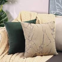 Btyrle Set of 2 Marble Print Throw Pillow Covers 18x18 Inch Decorative Velour Pillowcases Square Cushion Case for Sofa Car Bedroom,Khaki/Dark Green,45x45cm