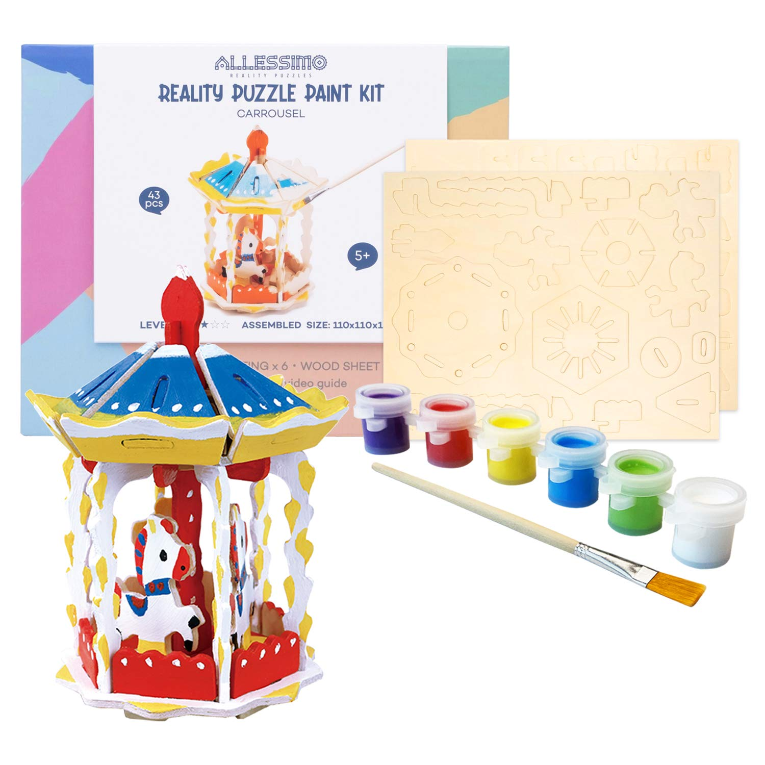 Allessimo Reality Puzzles 3D Wooden Model Paint Kit (Carousel - 43 pc Puzzle) Toys for Kids & Adults DIY Puzzle Build 3D Puzzles Paint Kits