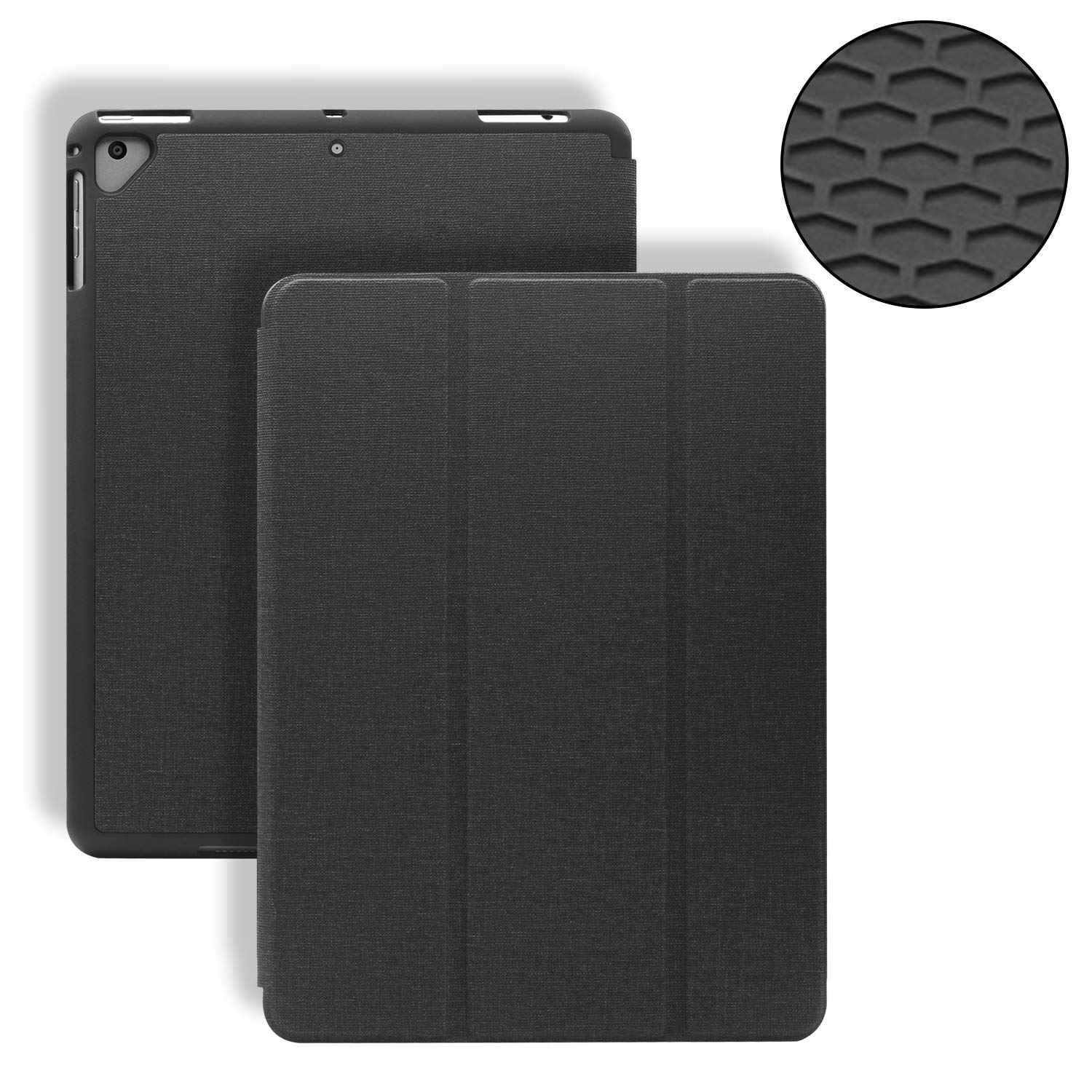 GKK for 9.7 iPad 2017/2018, iPad Air 2, iPad Pro, iPad Air Case - Premium PU Leather Stand Cover - Soft Honeycomb Back Cover with Pencil Holder (Black)