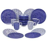 VANCASSO Porcelain Dinnerware Set 16Piece for 4, Blue Pattern Serving Set of Series Takaki with Cup Bowl Plates Platters for Family Dinner, Party, Feast, Blue
