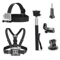 VVHOOY 3 in 1 Universal Waterproof Action Camera Accessories Bundle Kit - Head Strap Mount/Chest Harness/Selfie stick Compatible with Gopro Hero 7 6 5/AKASO EK7000/APEMAN/ODRVM/Crosstour Action Camera