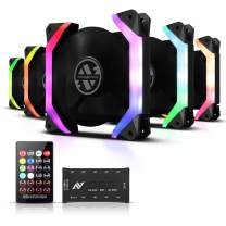 ABKONCORE SP120 PC Fan, SYNC PWM RGB 120mm Computer Fans with Spider-Shaped Frame PC Case RGB Fans, 50 LED Modes with Fan Control Hub (120mm-5 Pack)