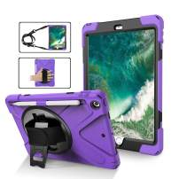 New iPad 9.7 2017 2018 Case,360 Degree Rotatable with Kickstand,Pen Holder,Hand/Neck Strap case, 3 Layer Hybrid Heavy Duty Dropproof Kids case and Durable Corner for iPad 5th/6th Generation,Purple