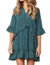 LOMON Vintage Dresses for Women Ruffle Polka Loose Fitting Summer Dress Half Sleeve