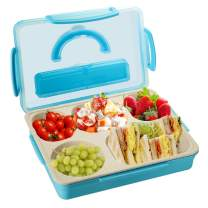 Kids Adults Bento Lunch Box, Durable Leak Proof 5-Compartment Food Container, BPA Free Portion Meal Prep Snack Packing Dishwasher Microwave Safe for Toddlers Child School Travel,camping,picnic-Bule
