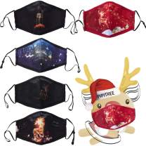 Reusable Cotton Mask Christmas Theme Face Mask Breathable Anti-Dust Face Cover