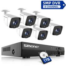 SMONET Security Camera System Outdoor,8 Channel FHD Home Security System(1TB Hard Drive),6pcs Weatherproof Security Cameras,65ft Night Vision,P2P, Remote View,Free APP