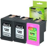 GREENCYCLE Hight Yield Remanufactured Ink Cartridge Compatible for HP 61XL CH563W H564W Black and Tri-Color Set - Black,2 Pack and Color,1 Pack