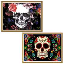 """Ginfonr 5D Diamond Painting Halloween Colorful Skull Full Drill by Number Kits for Adults, 2 Pack Flower Skeleton Paint with Diamonds Art Crystal DIY Rhinestone Decor Wall Craft 30x40 cm (12""""x16"""")"""