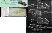 Cybrtrayd 45StK50-B055 Baby Lolly Chocolate Candy Mold with Lollipop Supply Kit, Includes 50 4.5-Inch Lollipop Sticks, 50 Cello Bags and 50 Metallic Twist Ties