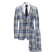 Mens 3 Piece Suit Check Plaid Slim fit One Button Formal Dress Blazer Jacket Tux Vest & Trousers