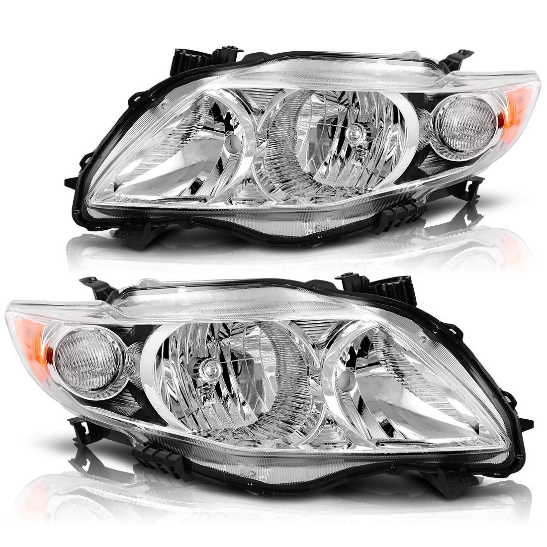 AUTOSAVER88 Headlight Assembly Compatible with 2009 2010 Toyota Corolla Chrome Housing Amber Reflector (Driver and Passenger Side)