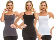 Kurve Women's Camisole Tank Top - 3 Pack Stretch Spaghetti Strap Cami, UV Protective Fabric Rated UPF 50+ (Made in USA)