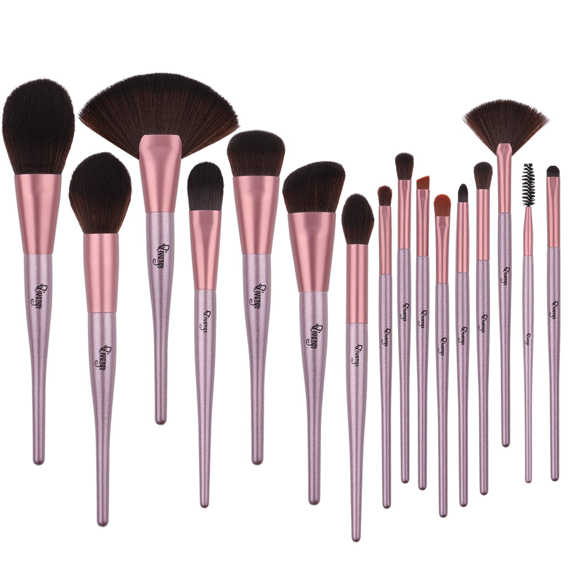 Qivange Fan Makeup Brushe 16PCS Face Foundation Powder Kabuki Makeup Brush Set Belly-type Handle Softer Professional Cosmetic Make up Brushes Kit for Blending Concealers Highlighter Eye Shadows