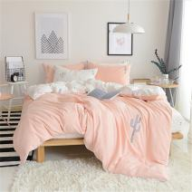 Mucalis Embroidered Cactus Bedding Set King Washed Cotton Cactus Duvet Cover Reversible Pink Peach White Bedding Duvet Cover Set Soft Lightweight Zipper Closure