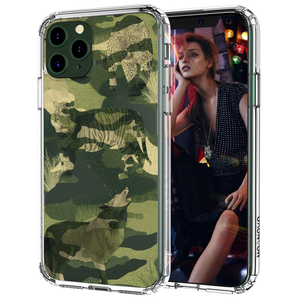 MOSNOVO iPhone 11 Pro Max Case, Military Camouflage Pattern Printed Clear Design Transparent Plastic Hard Back Case with TPU Bumper Protective Case Cover for iPhone 11 Pro Max