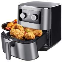 Uten Air Fryer XL 5.8 Quart, 5.8 Qt Air Fryer Large Capacity Oven Oilless Cooker 1700W Electric Hot AirFryer with Temperature Control & Timer Knob, Non-stick Fry Basket Dishwasher Safe - Silver