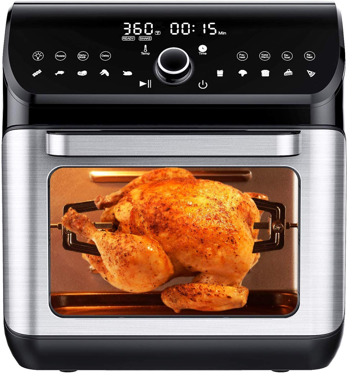 IKICH Fryer Oven, 12QT 10 Presets Hot Air LCD Touchscreen Toaster Dehydrator Rotisserie Defrost with Dishwasher Safe Skewers Racks Drip Tray Cookbook 1500W, Silver
