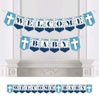 Big Dot of Happiness Blue Elegant Cross - Religious Boy Baby Shower Bunting Banner - Party Decorations - Welcome Baby